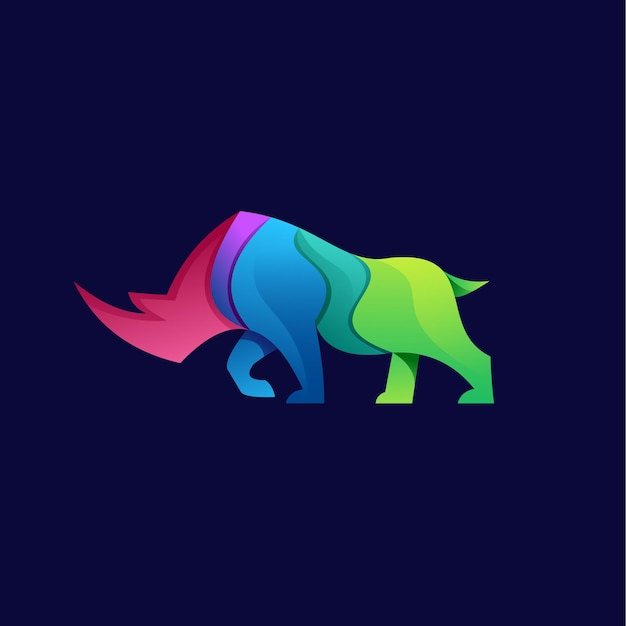 Bull animal logo gradient colorful illustrator