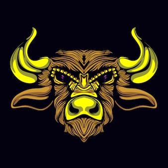 Bull artwork gold mask