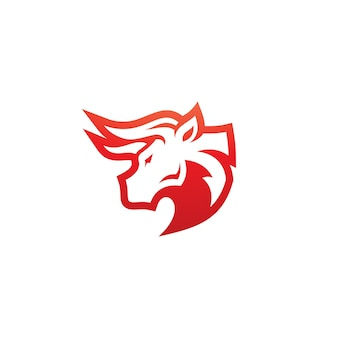 Bull buffalo bison head horn icon vector logo design