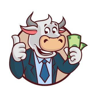Bull cash mascot design