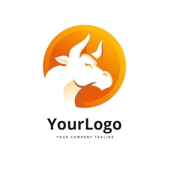 Bull in circle logo premium vector