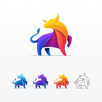 Bull colorful vector template