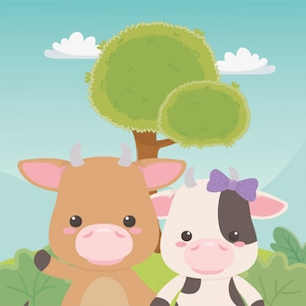 Bull and cow cartoon