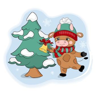 木を装飾するブル。新年漫画休日手描きベクトルイラスト
