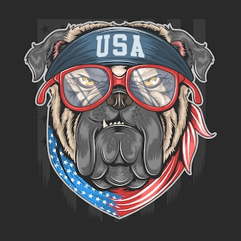 Bull dog usa america flag with bandana