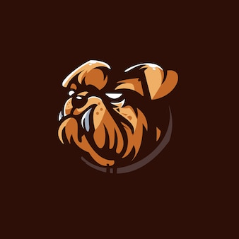 Шаблон логотипа спортивной команды bull dog