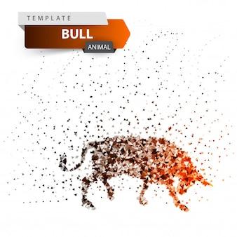 Bull dott illustration. splatter, glare, sun.