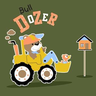Bull dozer cartoon vector