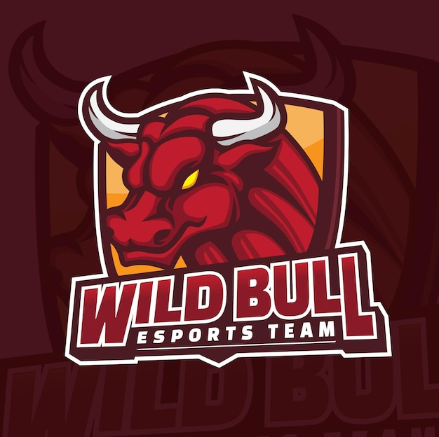 Дизайн логотипа талисмана игры bull esports