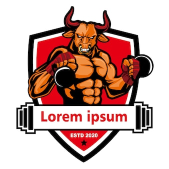 Логотип фитнеса быка