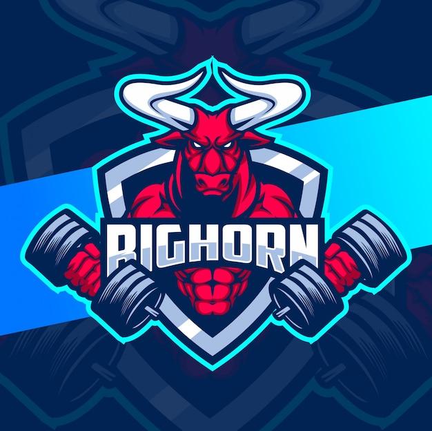 Bull fitness strong mascot esport logo design