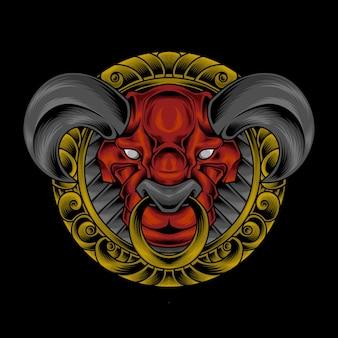 Орнамент круг головы быка