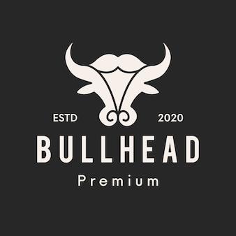 雄牛の頭すっきりとしたロゴデザイン