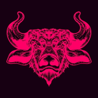 Цветная иллюстрация бычьей головы