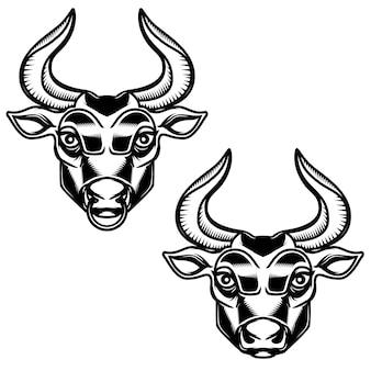 Иллюстрация головы быка на белом фоне. элемент для эмблемы, знака, плаката, этикетки. иллюстрация