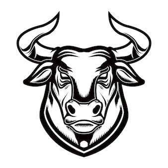Голова быка в стиле гравюры. элемент дизайна для логотипа, этикетки, эмблемы, знака, плаката. векторное изображение