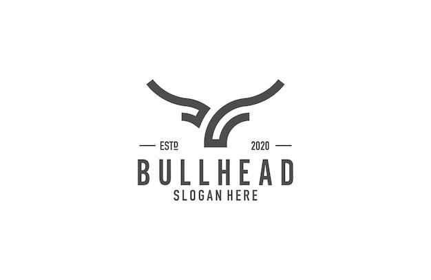 Bull head line art logo