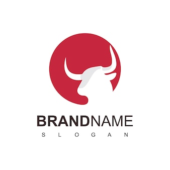 Бык голова логотип фермы и символ крупного рогатого скота