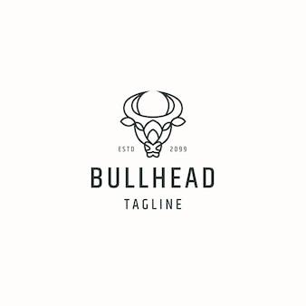 Bull head logo icon design template flat vector illustration Premium Vector