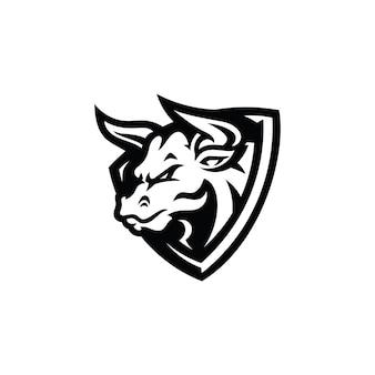 Bull head shield badge mascot illustration logo design