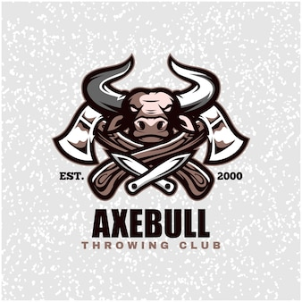 Bull head with axes and knifes, throwing club logo.