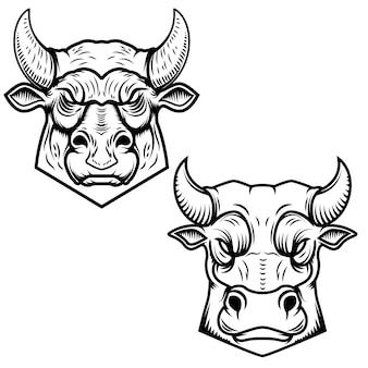 Иллюстрации голов быка предпосылки белые. элемент для логотипа, этикетки, эмблемы, знака. иллюстрация