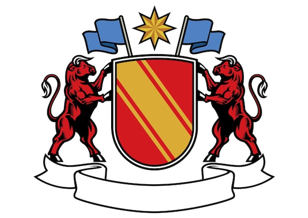Bull heraldry in classic coat of arms style