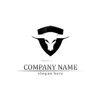ブルホーンとバッファローのロゴとシンボルテンプレートアイコンアプリ