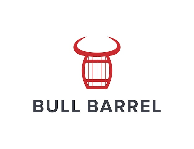 Bull horn and barrel simple sleek creative geometric modern logo design