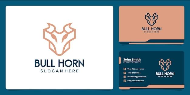 Bull horn logo combine luxury monoline design and business card