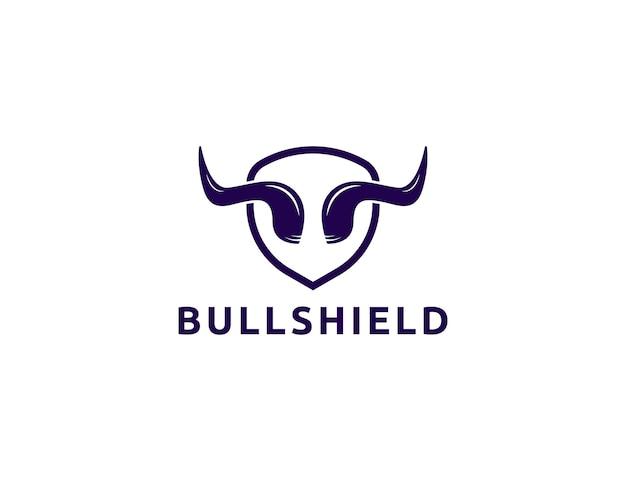 Bull horn logo with shield design