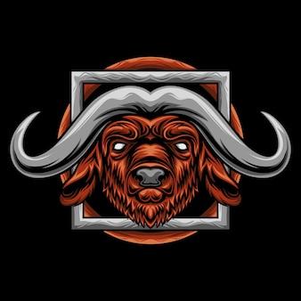 Bull horned head illustration