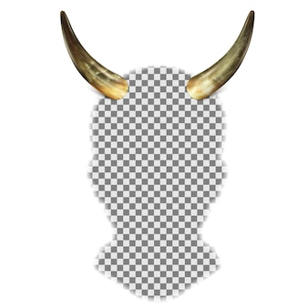 Bull horns on the head of a human head silhouette.