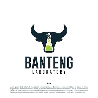 Бык лаборатория, анализ, шаблон дизайна логотипа