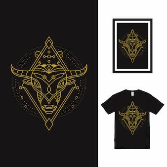 Дизайн футболки bull line art