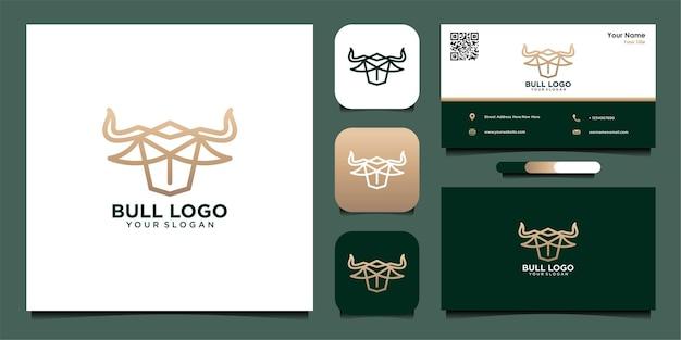 雄牛のロゴデザインのインスピレーションと名刺