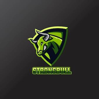 Bull logo esport team зеленый цвет