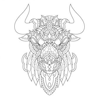 直線的なスタイルの雄牛マンダラzentangleイラスト