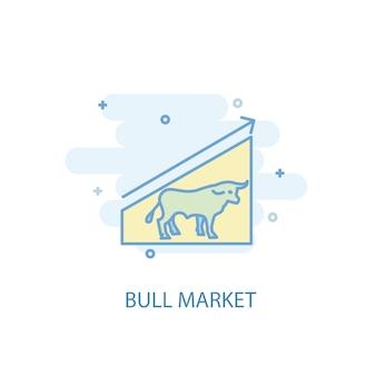 Концепция линии bull market. значок простой линии, цветные рисунки. бычий рынок символ плоский дизайн. может использоваться для ui / ux