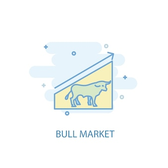 Bull market line concept. simple line icon, colored illustration. bull market symbol flat design. can be used for ui/ux