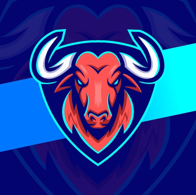 Eスポーツとゲームのロゴデザインのための雄牛のマスコットキャラクターデザイン