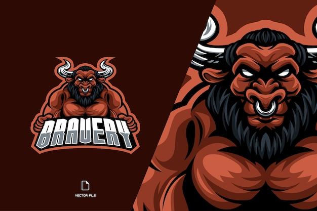 Логотип киберспортивной игры талисмана быка для шаблона иллюстрации спортивной команды