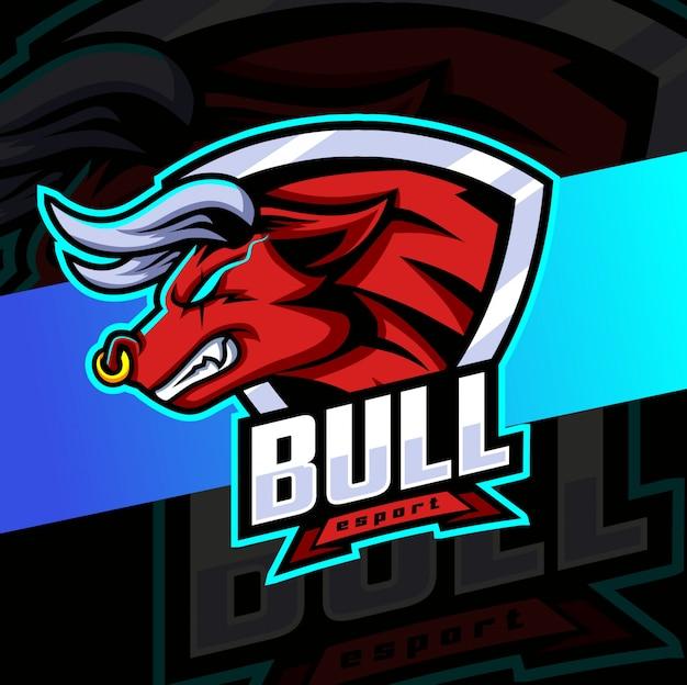 Bull mascot esport logo design