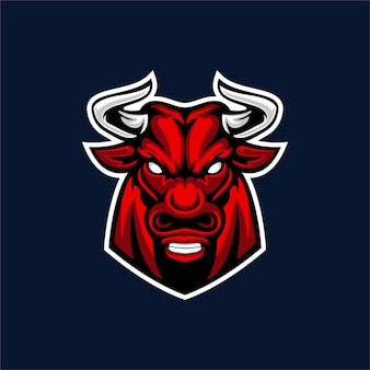Дизайн логотипа талисмана быка, изолированные на темно-синем