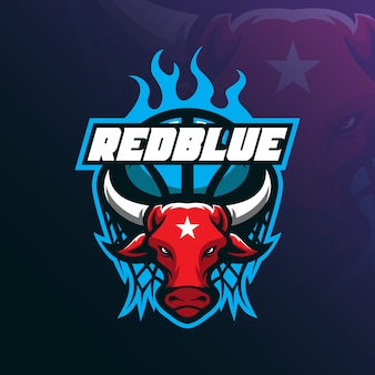 Bull mascot logo design vector with modern illustration concept style for badge, emblem and tshirt printing.