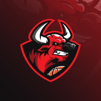 Bull mascot logo with modern illustration
