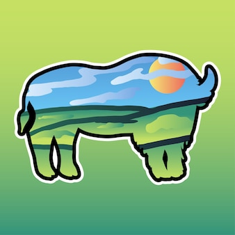 Bull and nature double exposure illustration. valley landscape in bison silhouette vector sticker
