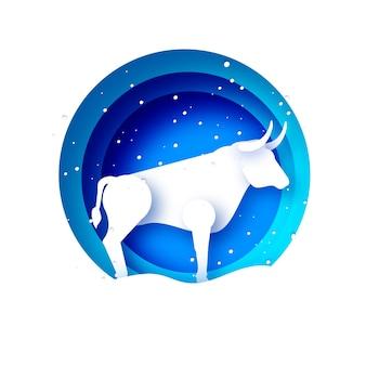 Бык новый год. с новым годом. бык, бык, корова. знак лунного гороскопа на 2021 год в стиле вырезки из бумаги. синий. зимние каникулы.