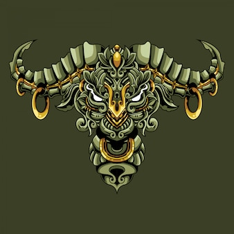 Bull ornamental doodle illustration