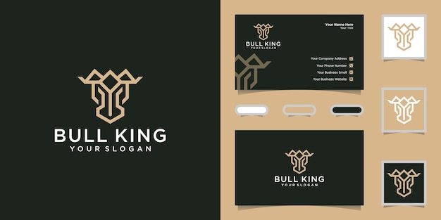 Bull's head and crown with stylish line design template and business card